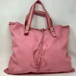 YSL Kahala Pink Canvas & Leather Drawstring Tote